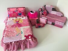 Barbie Or Monster High.furniture Bedroom Set:Bed,sofa,lamp,woodbox