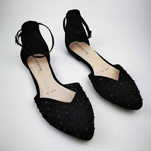 Diamante Beaded ~ Flat Strap Shoes ~ UK