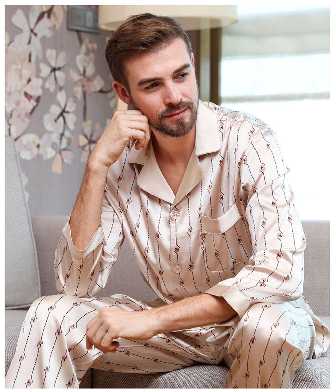 Men's Print Mulberry Silk Pajamas Set Long Sleeves Silk Sleepwear S M L