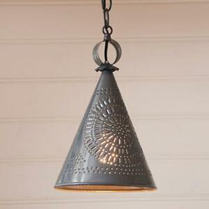 Country new STURBRIDGE witch hat punched tin ceiling light / nice
