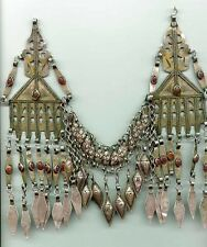 Antique Turkoman silver Tenechir temple pendants headdress with carnelian
