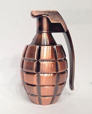 "Bronze XL Grenade Herb Grinder 3 Piece Stash Metal Large Full Size 3.5"" Tall New"