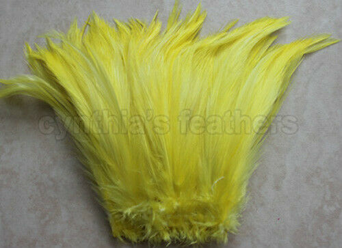 """Bright Yellow 5-7/"""" Hackle Rooster COQUE Feathers for crafting 100+ 7.0g, 1//4Oz"""