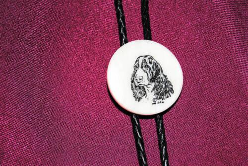 Laser Etched Cultured Marble Bolo Bola Tie Hunting Dog Springer Spaniel