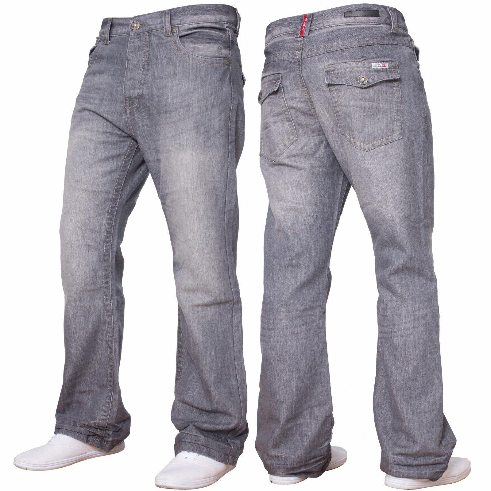 New Mens Designer Grey Bootcut Wide Leg Flared Denim Jeans All Waist Sizes