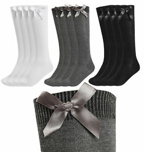 1-3-6-Pairs-Girls-knee-high-bow-socks-school-uniform-party-back-to-school-UK