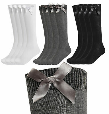 1,3,6 Pairs Girls Knee High Bow Socks School Uniform Party Back To School Uk