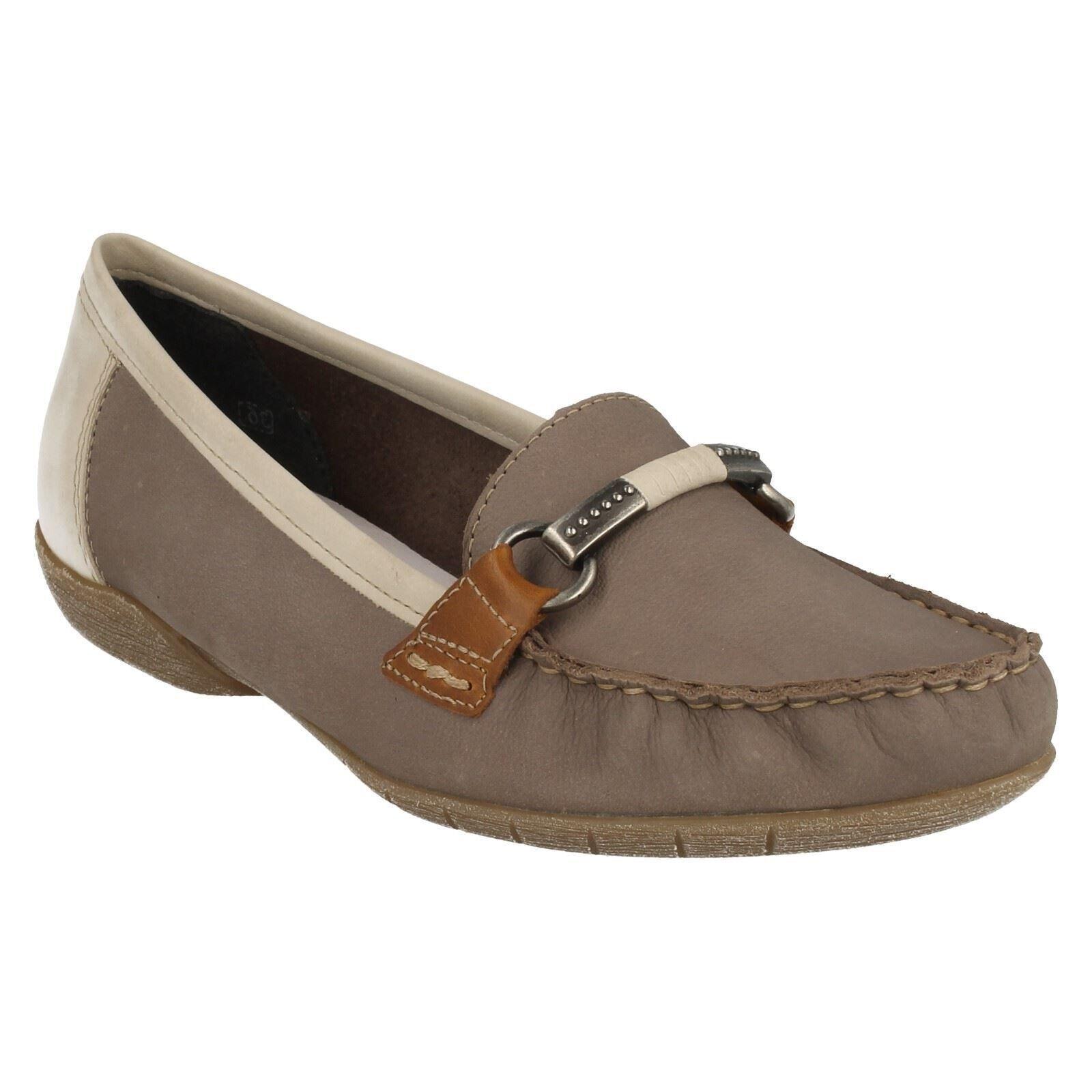 Damen Rieker 42150 Mokassin Flacher Abzatz ohne Bügel Lässig Elegant Schuh Größe