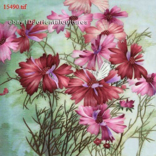 Chinese 100/% real natural silk thread,su hand embroidery kits:flower