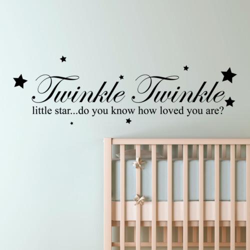 Twinkle twinkle little star wall quote nursery kids art decal vinyl sticker w156