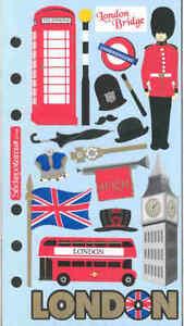 London Travel Stickers - Double-decker bus, Crown, Beefeater's hat, Big Ben
