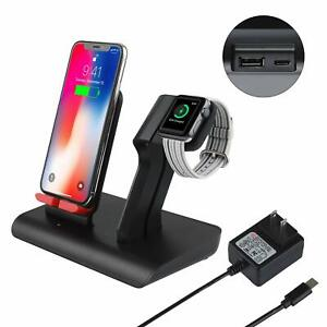 Wireless-Charger-Dock-Station-Stand-2-in-1-For-iWatch-X-Xs-8-Samsung-IOS-Android
