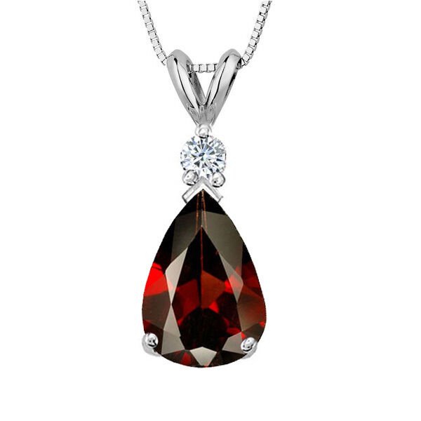 3.05 CT 14K Solid White gold Garnet Pear Shape Basket Setting Pendant w  Chain