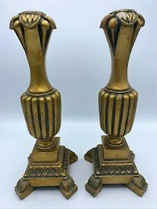 "Classic Pair of Tall Brass Candlestick Holders 15"" Exquisite Ornate Design"