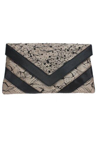 FLR438 Faith Lace Detail Low Heel Peep Toe Diamante Slip On Heels Clutch Bag