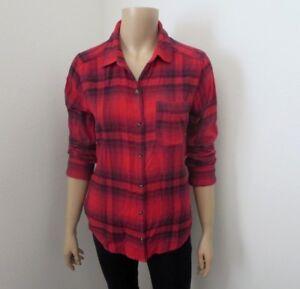 Hollister Mujer Cuadros Camisa de Franela Talla Pequeña Rojo
