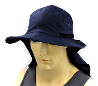 Boonie Hat Cap Sun Flap Ear Neck Cover Sun Protection Soft Material - Navy Blue