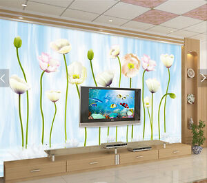 3D-Flowers-Squid-326-Paper-Wall-Print-Wall-Decal-Wall-Deco-Indoor-Murals