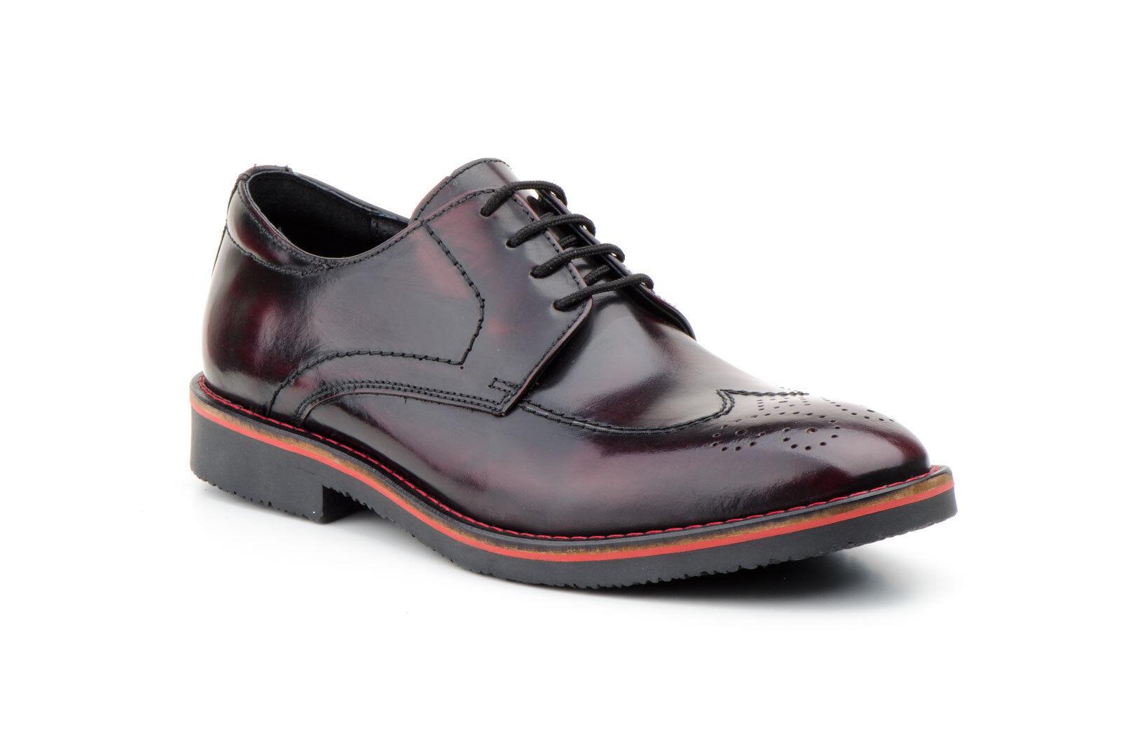 Schuhe Blücher Pelz Patent für Mann Bordeaux Größe 39 40 41 42 43 44 45