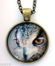 Medaillon vintage/collier style bronze Medallion chain necklace- Owl bird/ Hibou