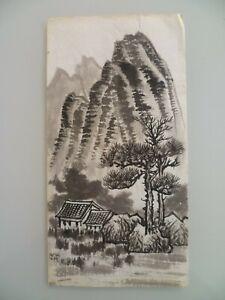 N 22 Dessin Au Lavis D Encre Chine Japon Montagne Maison