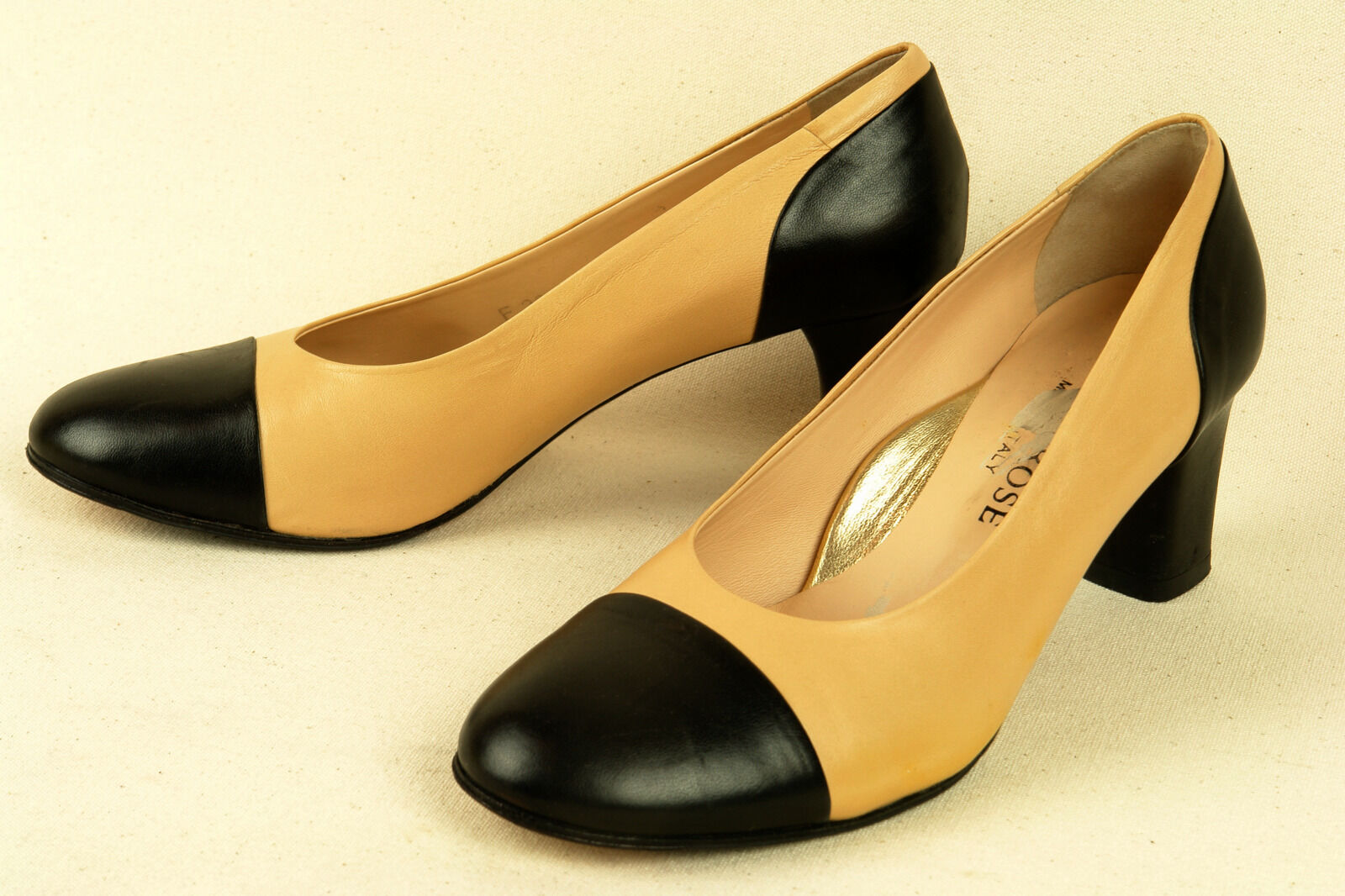 TARYN ROSE / ITALY / CLASSIC SPECTATOR PUMP / IN NUDE & BLACK / PUMP 36.5 / EXCELLENT 4a5415