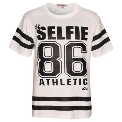 Girls Top Kids Designer/'s #Selfie 86 Athletic Print Fashion T Shirt Top 7-13 Yr