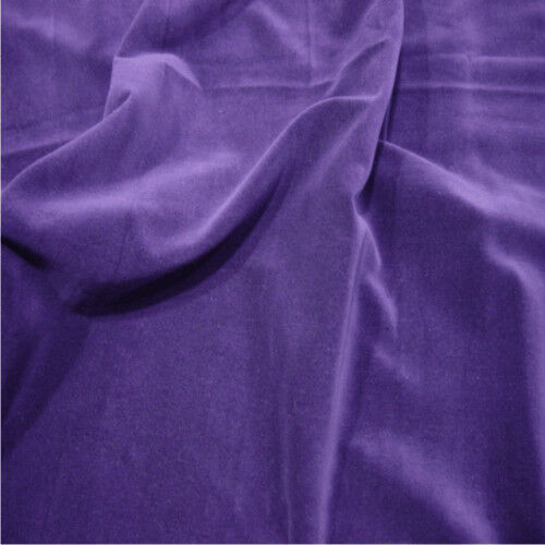PURPLE 100/% Cotton Velvet Fabric Sold by the metre LUXURIOUS MATERIAL!