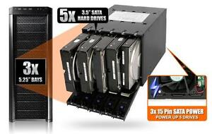 """5x 5 bay 3.5/"""" SATA SAS HDD Mobile Rack New ICY Dock MB975SP-B R1 Tray-Less"""