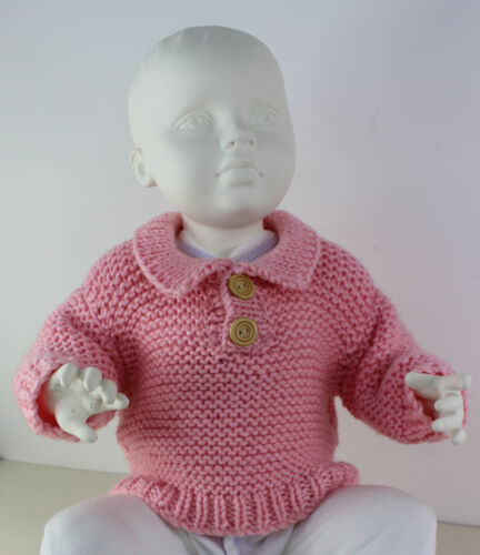 PRINTED INSTRUCTIONS-BABY CHUNKY GARTER STITCH COLLAR SWEATER KNITTING PATTERN