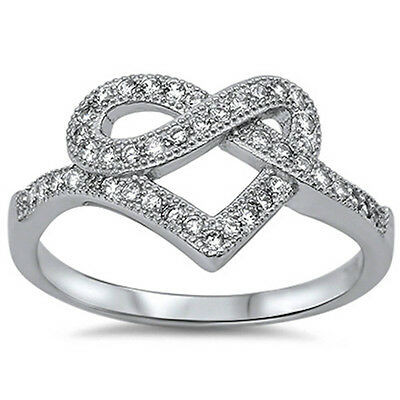 Pave Cz Infinity Heart .925 Sterling Silver Ring Sizes 5-10