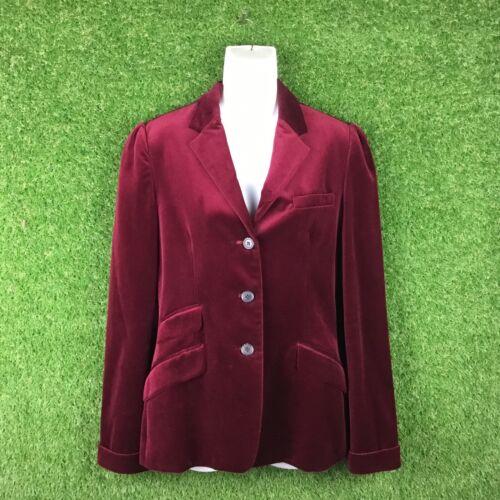 Vtg Ralph Lauren Red Velvet Blazer Jacket Size 10 - image 1