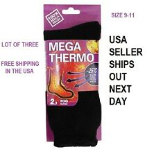 SOLE TRENDS ULTIMATE THERMAL SOCKS TOG 2.13 MAX HEAT THICK CUSHIONING BLK//GRN