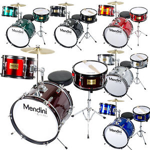 Mendini 16 Junior Kid Child Drum Set Kit W Throne Black Blue
