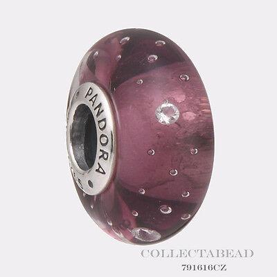 Authentic Pandora Silver Murano Glass Purple Effervescence Bead 791616CZ
