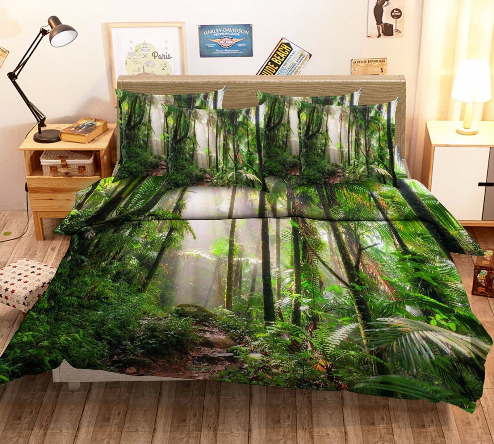 3D Tropical Forest 532 Bed Pillowcases Quilt Duvet Cover Set Single Queen CA