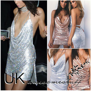 f8e5cb9715f6 Image is loading UK-Womens-Backless-Sequin-Dress-Ladies-Kendall-Chain-