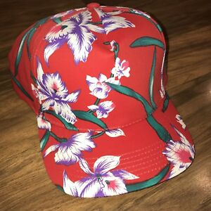 551db28b143 Details about NEW Vtg 80s 90s Red HAWAIIAN Floral All Over Print MAGNUM PI  Cap Party Hat NOS