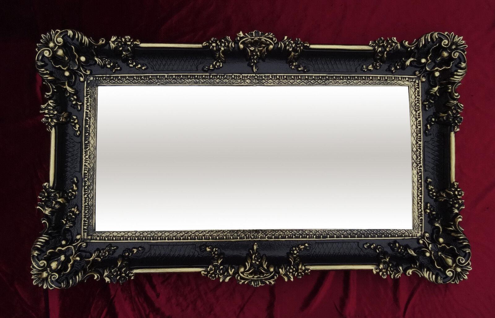 wandspiegel rechteckig schwarz gold dual barock wanddeko antik spiegel 96x57 ebay. Black Bedroom Furniture Sets. Home Design Ideas