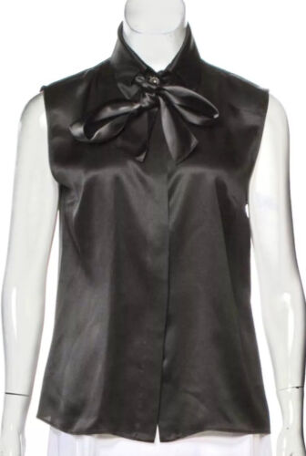 $3,450 Chanel 2019 Black Pussy Bow Blouse 34 36 38