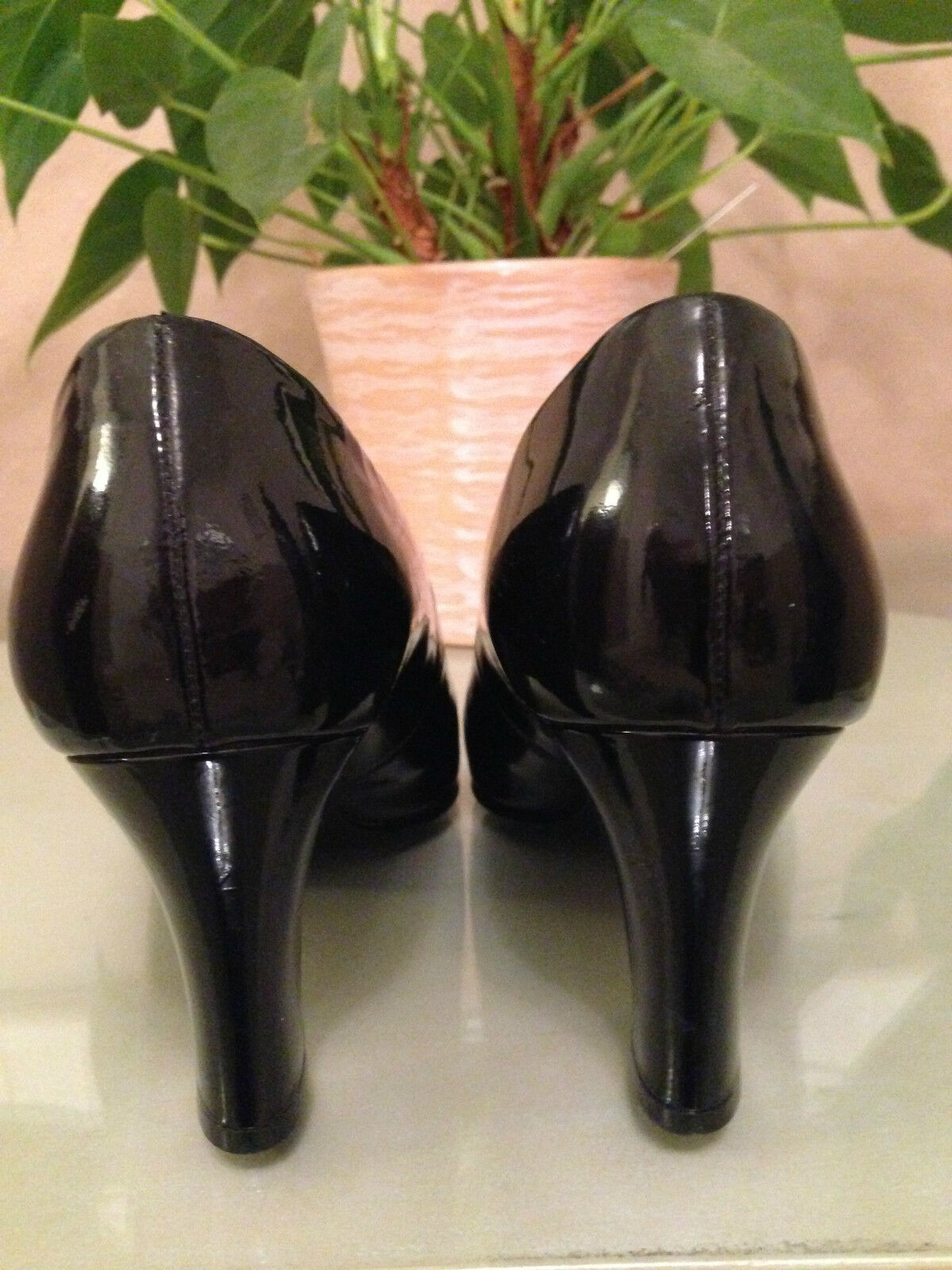 Ladies Gabor Fashion black patent leather rounded rounded rounded toe court shoes UK 6.5 EU 39.5 a991fb