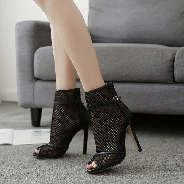 Sandale stivali estivi tacco stiletto 11 cm nero simil pelle eleganti 9714