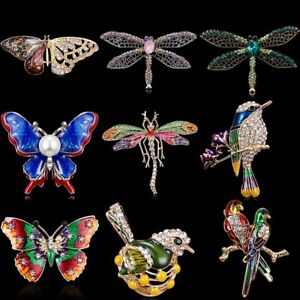 Lovely Feather Butterfly Crystal Shell Animal Brooch Pin Womens Jewellery Party