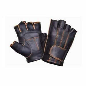 c12fcbf85f504 Image is loading Mens-Distressed-Brown-Leather-Fingerless-Motorcycle-Riding- Gloves-