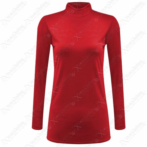 NEW LADIES POLO ROLL NECK TOP WOMEN STRETCH FIT LOOK LONG SLEEVE JERSEY TOP 8-14