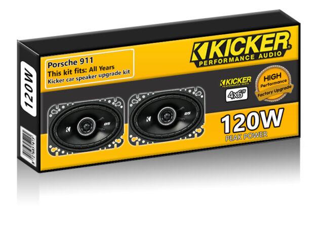 """Porsche 911 Front Door Speakers Kicker 4x6"""" car speaker upgrade 120W"""
