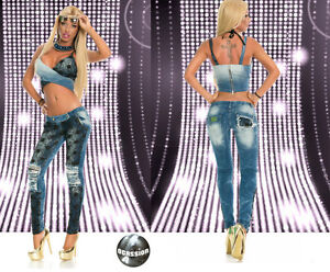 Ocassion-Jeans-2-Teiler-Bustiertop-Roehrenjeans-Spitze-Risse-Pailletten-Blau-XS-M