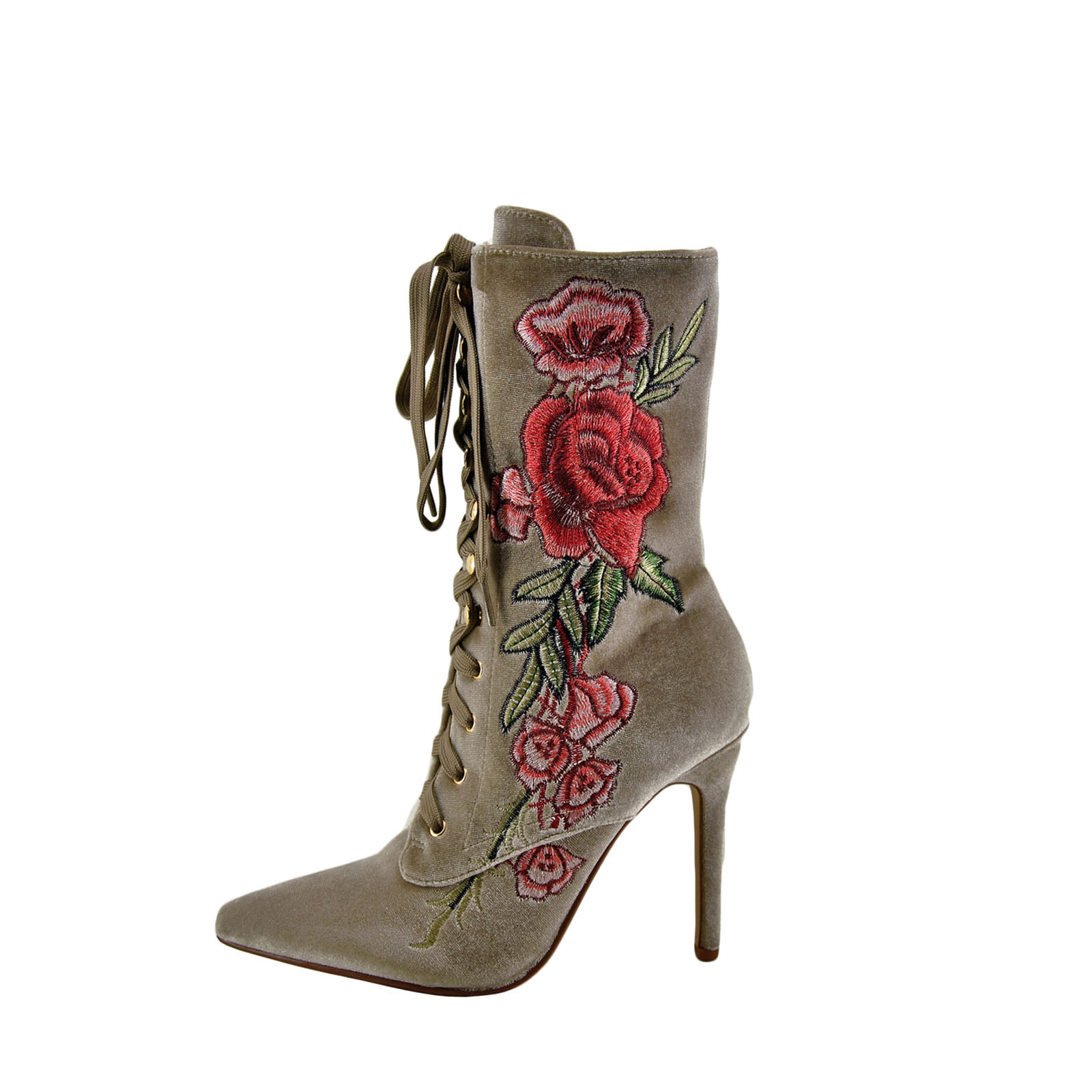 Cape Robbin Mini 108 Nude Women's Embroidered Lace Up Boot SY2462