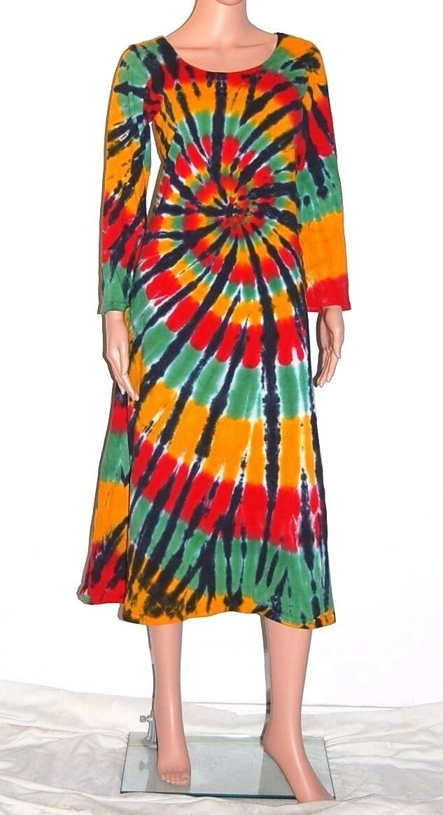TIE DYE Woherren Rasta Spiral Long Sleeve Dress marley hippie sm med lg xl 2X 3X