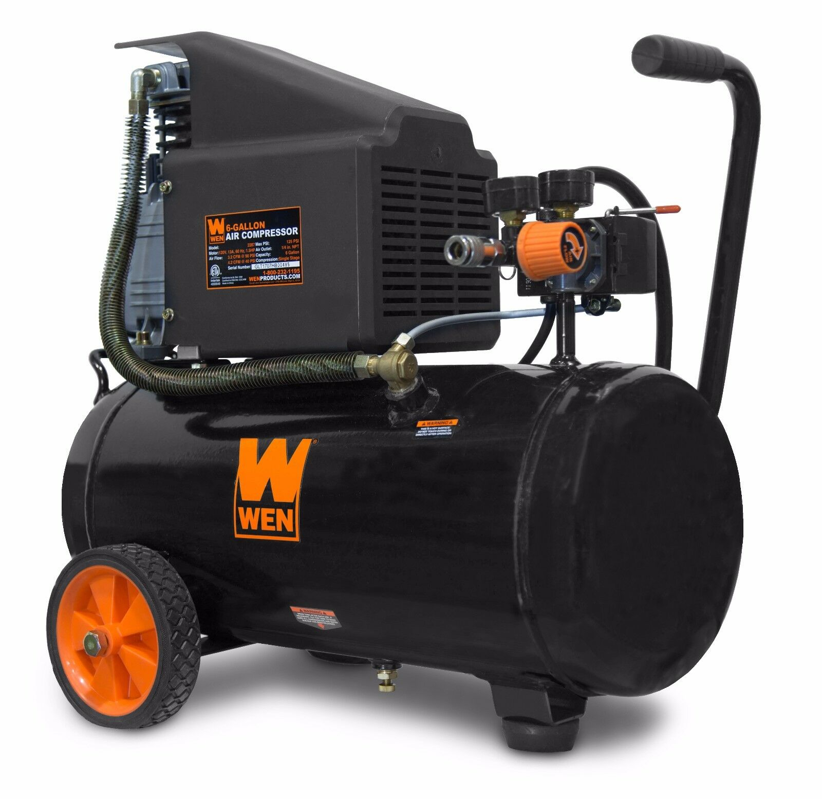 WEN 2287 6-Gallon Oil-Lubricated Portable Horizontal Air Compressor. Available Now for 128.44